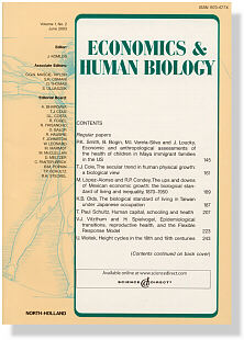 Economics and Human Biology, journal cover page